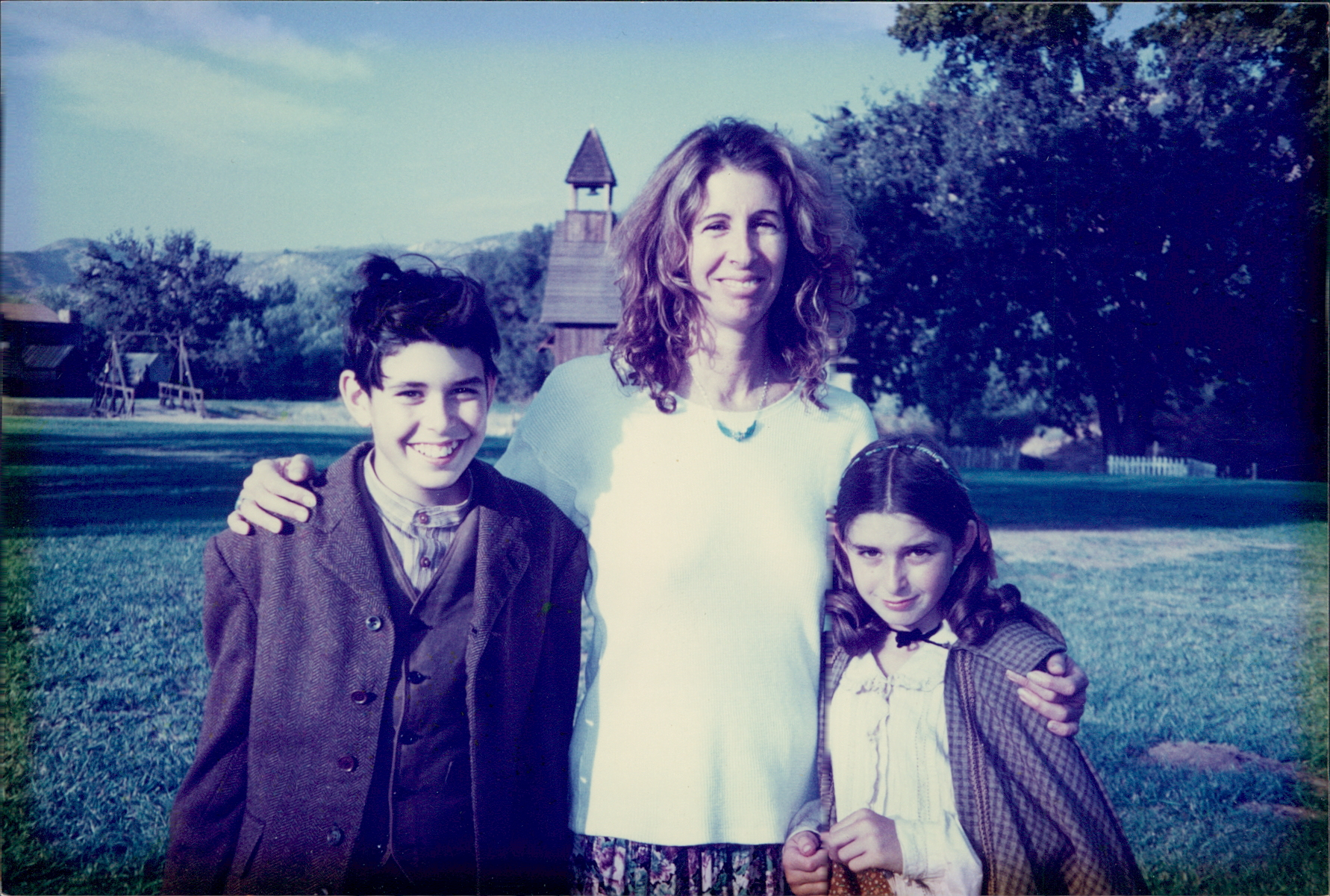 On the set of Dr. Quinn, Medicine Woman, with her kids, Andre and Rachel