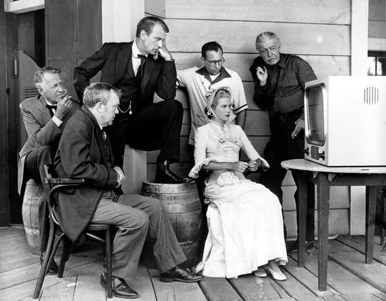 Cast on the set of High Noon, watching the World Series, 1952